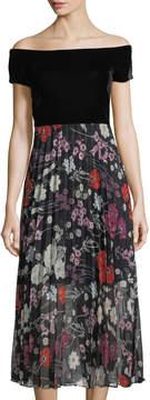 Donna Morgan Velvet-Top Off-The-Shoulder Maxi Dress