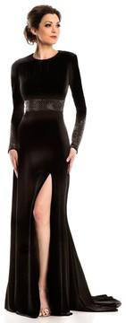 Johnathan Kayne 8101 Long Sleeved Velvet Evening Gown