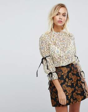Fashion Union High Neck Blouse In Floral With Tie Sleeves