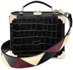 Aspinal of London Mini Trunk Clutch In Deep Shine Black Croc With Zig Zag Strap