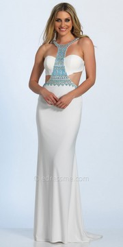 Dave and Johnny Grecian Beaded Multi Cut Out Prom Dress