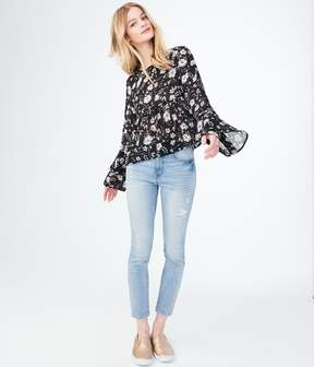 Aeropostale Long Bell Sleeve Floral Ruffle Top