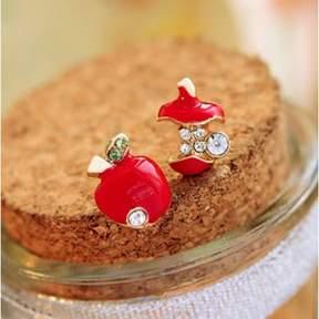 Alpha A Bright Red Apple Huggie Earrings