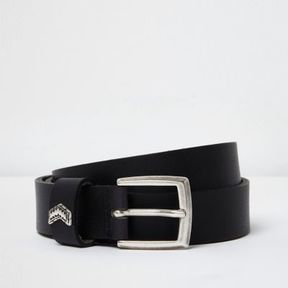 River Island Mens Black leather arrow belt