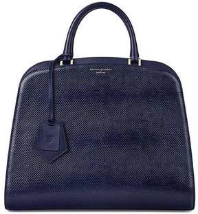 Aspinal of London Hepburn Bag In Midnight Blue Lizard