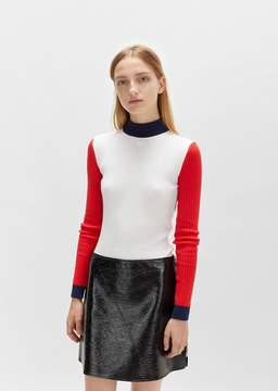 Courreges Color Blocked High Neck Sweater White/Red/Navy