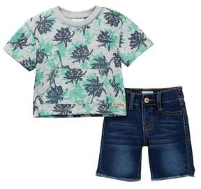 Hudson Cotton Heather Printed Terry Top & Shorts Set (Baby Boys)