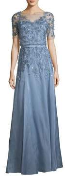 Light Blue Short-Sleeve 3-D Floral Embroidered Evening Gown
