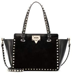 Valentino Rockstud leather and suede tote