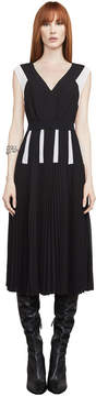 BCBGMAXAZRIA Savannah Color-Blocked Pleated Dress