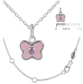 Ice 12-18 In Kids' Silver October Birthstone Butterfly Necklace For Girls