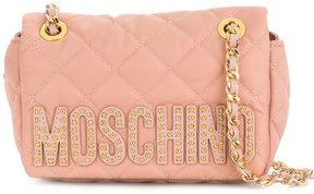Moschino studded logo shoulder bag