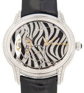 Audemars Piguet Millenary Zebra Diamond Pattern Dial 18 Carat White Gold Ladies Watch