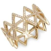 Ef Collection 14K Yellow Gold & Diamond Multi-Triangle Ring
