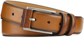Robert Graham Men's Embossed-Buckle Brushed Leather Double-Loop Belt