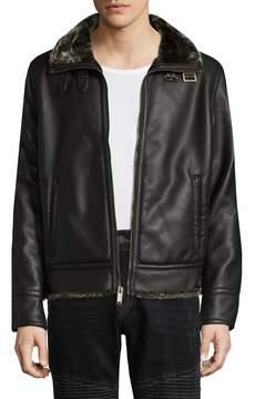 Karl Lagerfeld Men's Zip & Buckle Faux Fur Jacket