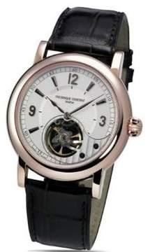 Frederique Constant White Skeleton Dial Black Leather Men's Watch