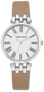 Anne Klein Silvertone Round Dial Tan Leather Strap Watch