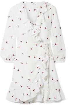 DAY Birger et Mikkelsen RIXO London - Abigal Ruffled Embroidered Gauze Wrap Mini Dress - White
