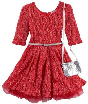 Knitworks Girls 4-6x Red Lace Dress & Purse Set