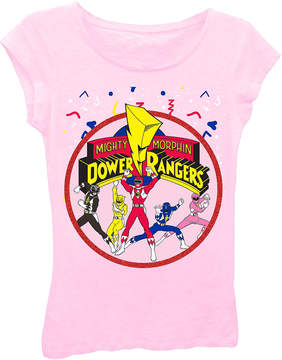 Asstd National Brand Power Rangers Girls' Group Shot with Logo Short Sleeve Graphic T-Shirt with Red Glitter