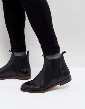 H By Hudson Tamper Leather Chelsea Boots In Black