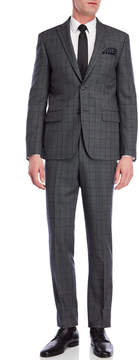 DKNY Grey Plaid Wool Suit Jacket & Pants