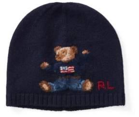 Polo Ralph Lauren Bear Merino Wool Hat Hunter Navy 2-4