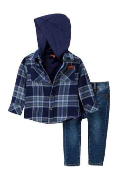 7 For All Mankind Hooded Flannel, Tee, & Jeans Set (Baby Boys)