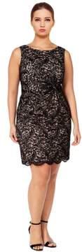 Calvin Klein Plus Size Sleeveless Knotted Lace Sheath Dress