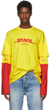 Vetements Yellow and Red Long Sleeve DHL T-Shirt