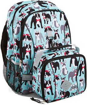 Fit & Fresh Aqua & Black Pug Life Cameron Backpack & Charlie Lunch Bag