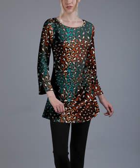 Azalea Rust & Teal Animal Print Long-Sleeve Tunic - Plus