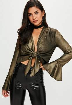 Missguided Gold Metallic Tie Front Flare Sleeve Blouse