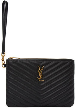 Saint Laurent Black Quilted Monogram Pouch - BLACK - STYLE