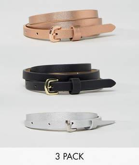 Asos 3 Pack Metallic Waist And Hip Belts
