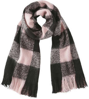 Joe Fresh Women's Fringed Check Scarf, JF Perennial Pink (Size O/S)