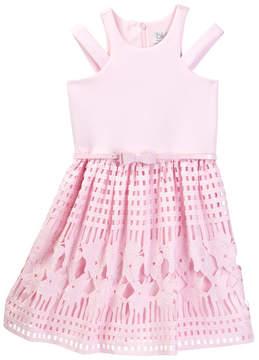Blush by Us Angels Sleeveless Scuba Lace Cut Dress (Big Girls)