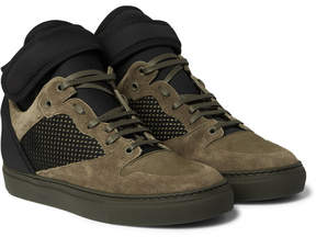 Balenciaga Suede, Neoprene And Mesh High-Top Sneakers