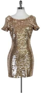 Ark & Co Rose Gold Sequin Mini Dress w/ Short Sleeves