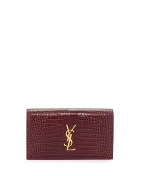 Saint Laurent Kate Monogram Small Crocodile-Embossed Clutch Bag, Rose - ROSE - STYLE