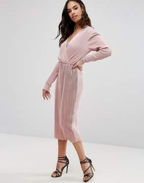 Club L Plisse Wrap Over Long Sleeve Midi Dress