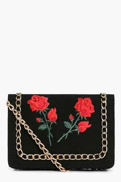 boohoo Floral Patch Chain Trim Cross Body Bag