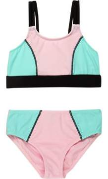 River Island Mini girls pink color block bikini