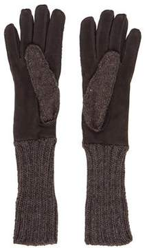 Neiman Marcus Knit Suede Gloves