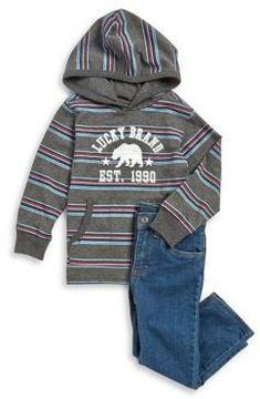 Lucky Brand Little Boy's Two-Piece Striped Hoodie and Jeans Set