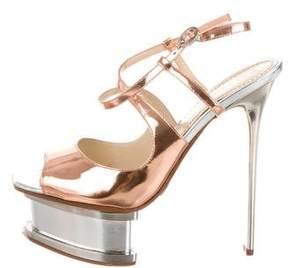 Pollini Copper-Tone Platform Sandals
