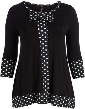 Celeste Black Polka Dot Contrast Bow Tunic - Plus