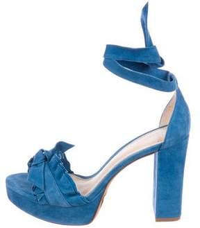 Alexandre Birman Ruffle-Trimmed Suede Sandals w/ Tags
