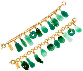 Elizabeth Taylor As Is The Set of 2 Simulated Jade Charm Bracelets